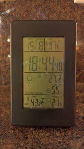 Buitentemperatuur naar 43 graden Celsius